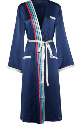 MORGAN LANE Esther striped silk-charmeuse robe
