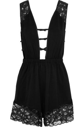 MORGAN LANE Lais bow-embellished cutout stretch-modal jersey and lace playsuit