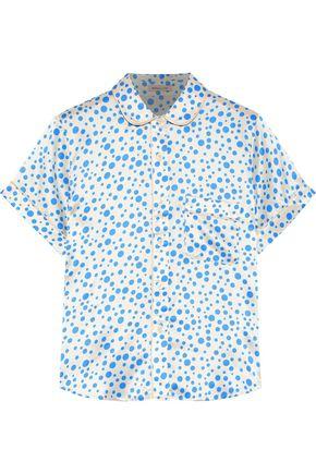MORGAN LANE Rose polka-dot silk-charmeuse pajama shirt