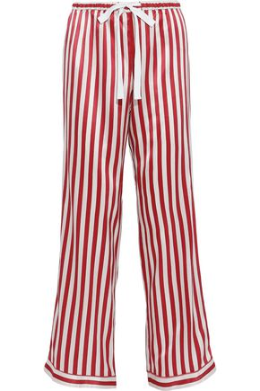 MORGAN LANE Chantal striped silk-charmeuse pajama pants