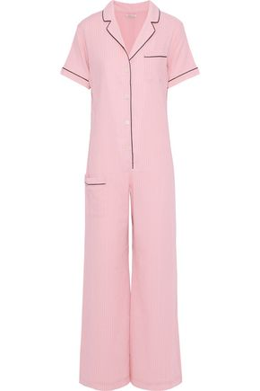 MORGAN LANE Pinstriped cotton jumpsuit