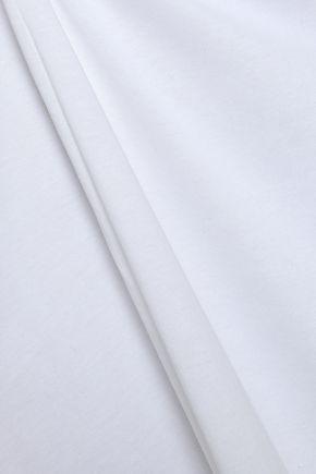 BODAS Bow-detailed shirred cotton-jersey nightdress