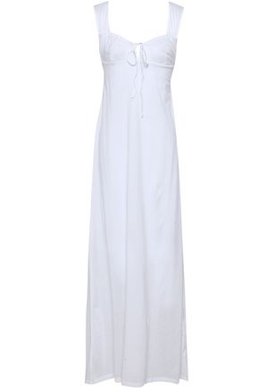 BODAS Bow-detailed shirred cotton-jersey nightdress
