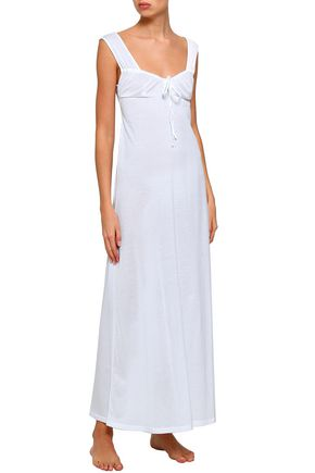 21ba840246 ... BODAS Bow-detailed shirred cotton-jersey nightdress ...