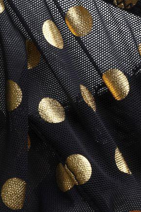 STELLA McCARTNEY Metallic polka-dot mesh triangle bra