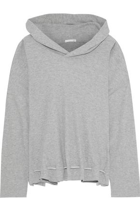 SKIN Waffle-knit cotton-blend hooded pajama top