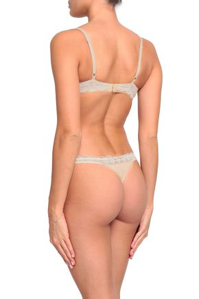HEIDI KLUM INTIMATES Lace-trimmed stretch-jersey low-rise thong