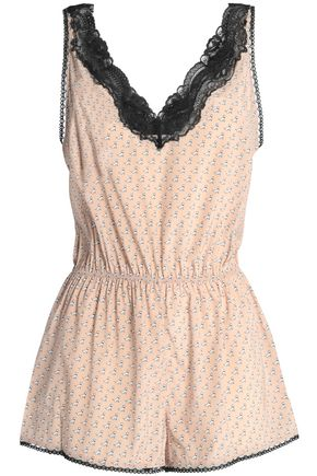 STELLA McCARTNEY Lace-trimmed printed stretch-silk playsuit