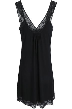 MIMI HOLLIDAY by DAMARIS Lace-trimmed stretch-jersey chemise