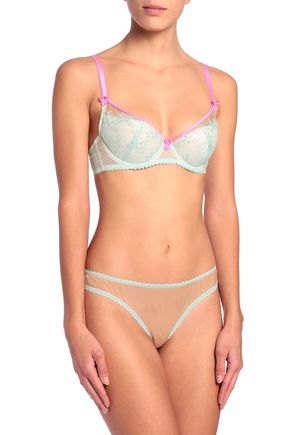 MIMI HOLLIDAY by DAMARIS Bow-embellished tulle mid-rise briefs
