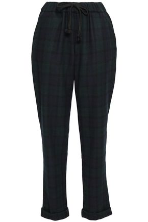 SLEEPY JONES Tartan checked wool pajama pants