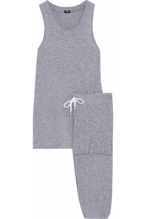 MONROW Mélange stretch-jersey pajama set