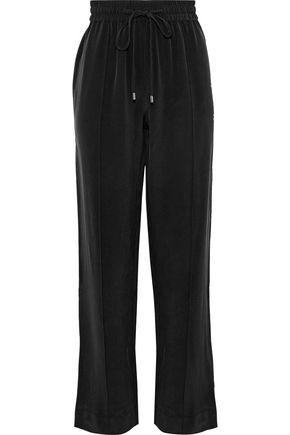 OLIVIA VON HALLE Gio grosgrain-trimmed washed-silk track pants
