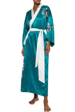 OLIVIA VON HALLE Queenie embroidered silk-satin robe