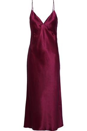 OLIVIA VON HALLE Issa Carmine silk-satin midi nightdress