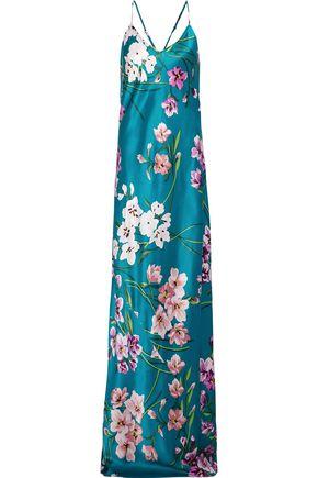 OLIVIA VON HALLE Preminova Barbara floral-print silk-satin nightgown