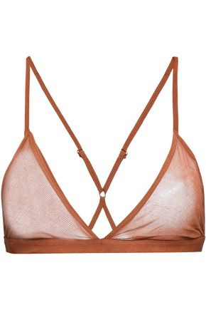 SKIN Odelyn cotton-mesh soft-cup triangle bra