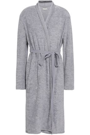 SKIN Mélange cotton-blend terry robe
