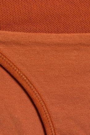 SKIN Mesh-trimmed cotton-jersey mid-rise briefs