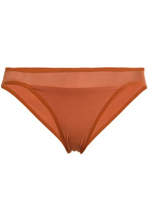 SKIN Mesh-trimmed cotton-jersey mid-rise briefs