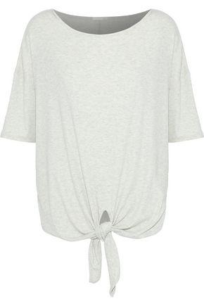 SKIN Nadene tie-front mélange ribbed-knit pajama top