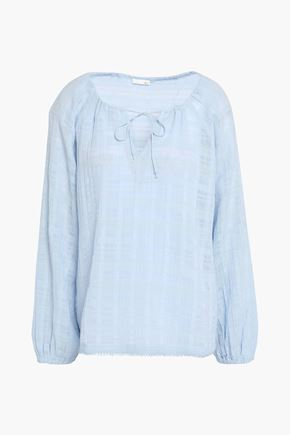SKIN Crinkled-cotton pajama top