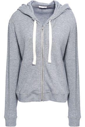 SKIN Mélange cotton-blend hooded pajama top