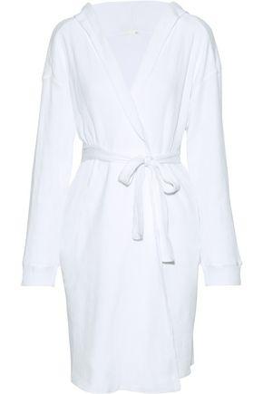 SKIN Avedon waffle-knit cotton hooded robe