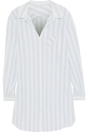 SKIN Ina striped cotton-gauze nightdress