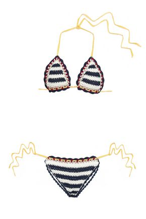 REDValentino Striped crochet-knit cotton bikini