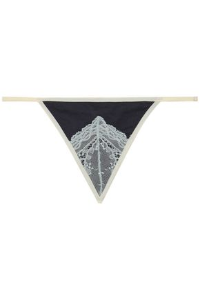 SKIN Lace and Pima cotton low-rise thong