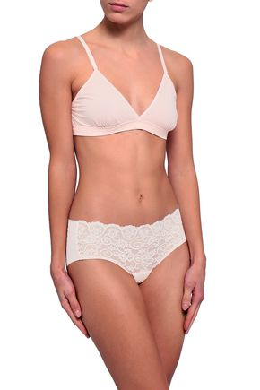COMMANDO Lace and stretch-jersey mid-rise briefs