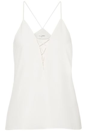 CAMI NYC Blake lace-up silk-charmeuse camisole