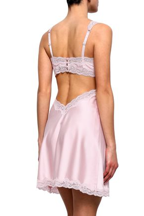 STELLA McCARTNEY Clara Whispering lace-trimmed cutout stretch-silk satin chemise