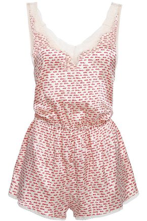 STELLA McCARTNEY Lace-trimmed printed silk-blend satin playsuit