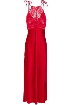 STELLA McCARTNEY Lace-paneled stretch-silk satin nightdress
