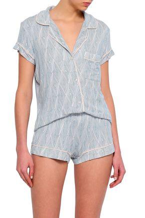 EBERJEY Printed stretch-modal jersey pajama set