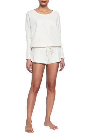 EBERJEY Quilted cotton-blend jersey pajama top