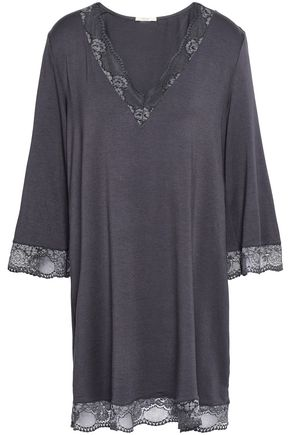 EBERJEY Lace-trimmed stretch-modal jersey nightshirt