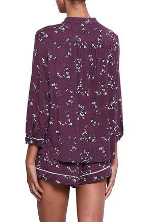 EBERJEY Printed stretch-modal pajama top