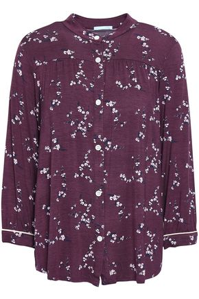 EBERJEY Printed stretch-modal pajama top