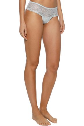 EBERJEY Elvia lace and modal-blend jersey low-rise thong