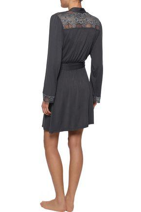 EBERJEY Noor lace-paneled stretch-modal jersey robe