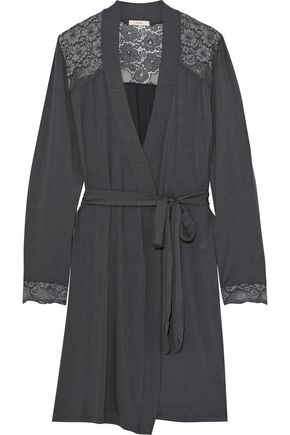 EBERJEY Noor lace-paneled stretch-modal jersey robe