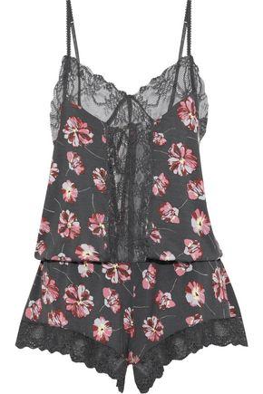 EBERJEY Veranda lace-paneled floral-print stretch-modal jersey playsuit