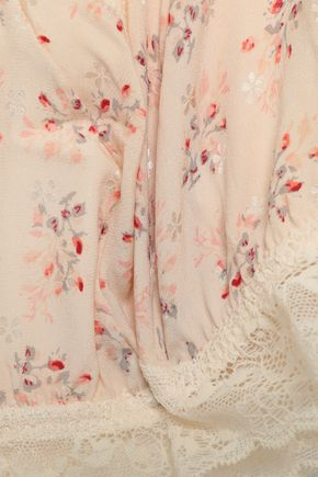 EBERJEY + Rebecca Taylor Lou floral-print stretch-silk and lace triangle bra