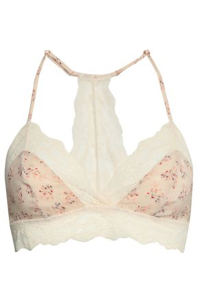 EBERJEY + Rebecca Taylor Lou floral-print stretch-silk and lace triangle bra