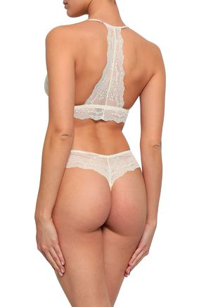 EBERJEY + Rebecca Taylor Lou floral-print stretch-silk and lace mid-rise thong