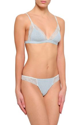 EBERJEY Lace-trimmed printed stretch-modal jersey thong