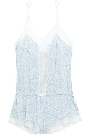 EBERJEY Lace-trimmed printed stretch-modal jersey playsuit